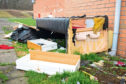 The mess left by fly-tippers at the site behind the Dundee Ice Arena.