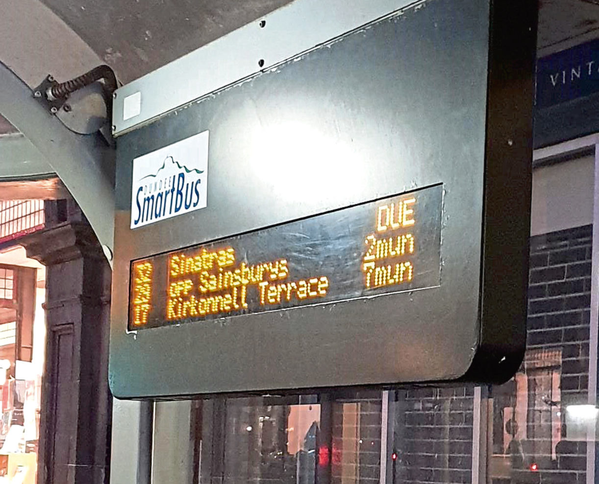 Bus sign showing Sinatras as a destination