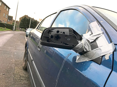 One car had a tyre slashed and a wing mirror kicked off
