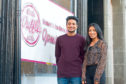 Kassam and Mariam Kassam outside their new ice cream parlour at West Port