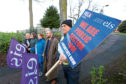 Staff from Dundee & Angus College on the picket line