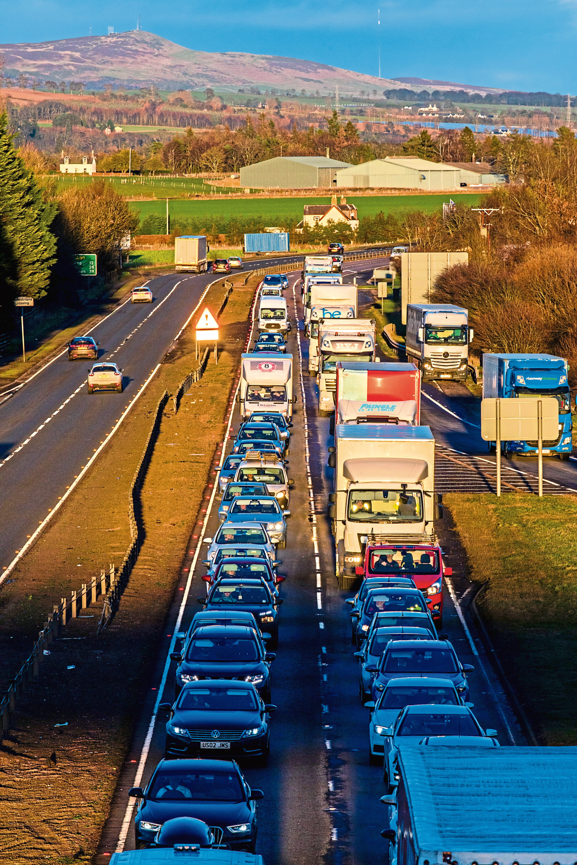 Traffic queues on the A90 southbound lanes at Errol junction after the crash on Wednesday January 16 2019