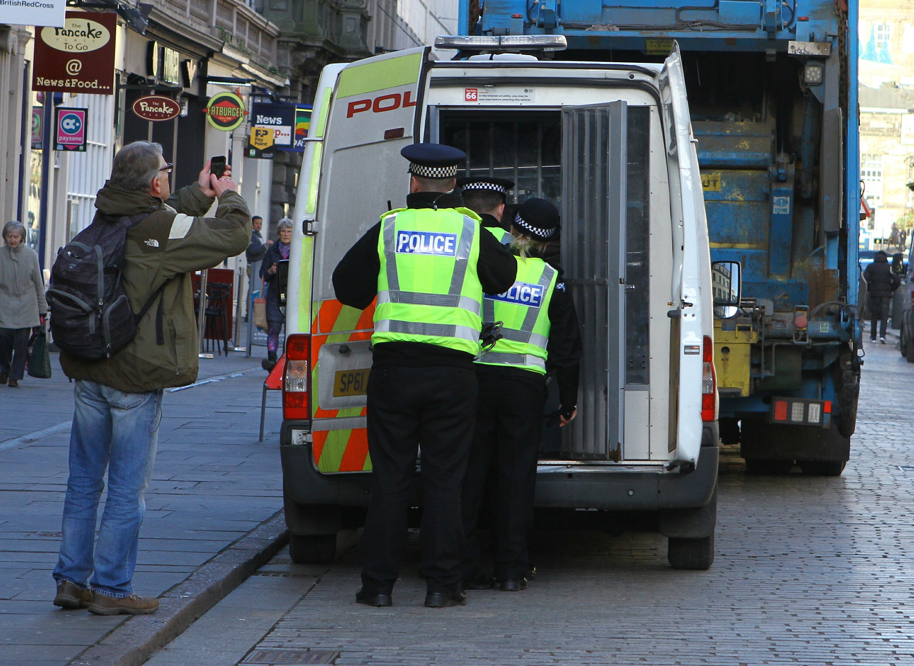 A man was arrested during a protest in City Square, Dundee today