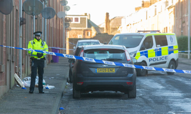 Police in Sidney Street, Arbroath following the stabbing in January.