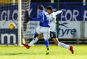 Queen of the South's prolific hitman scores the first of his three goals for Queen of the South in their 3-0 win over Dundee