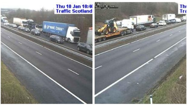 Traffic building up from the Kelty junction on the M90