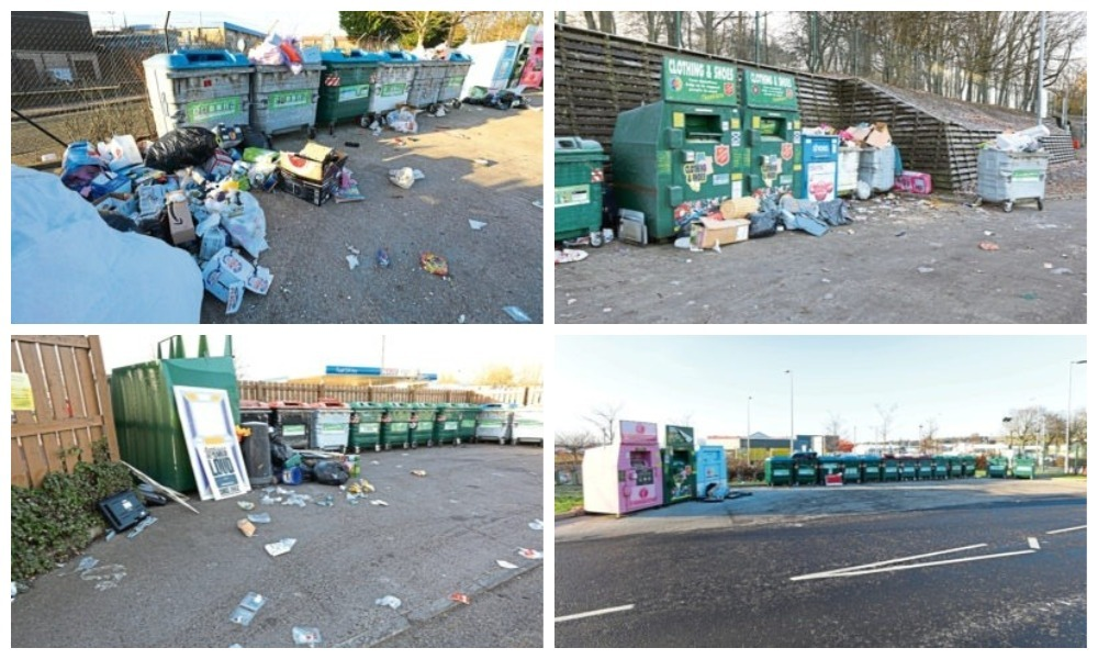 Waste has been left dumped at recycling sites at Asda Milton of Craigie (top left), Tesco Kingsway (above left) and Tesco South Road (top right) and Asda Myrekirk (above right)