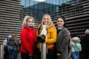 Chloe Heenan, Emma Hamilton and Kayleigh Heenan, outside V&A Dundee