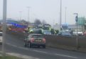 Emergency services at the scene of a crash on Riverside Drive, Dundee