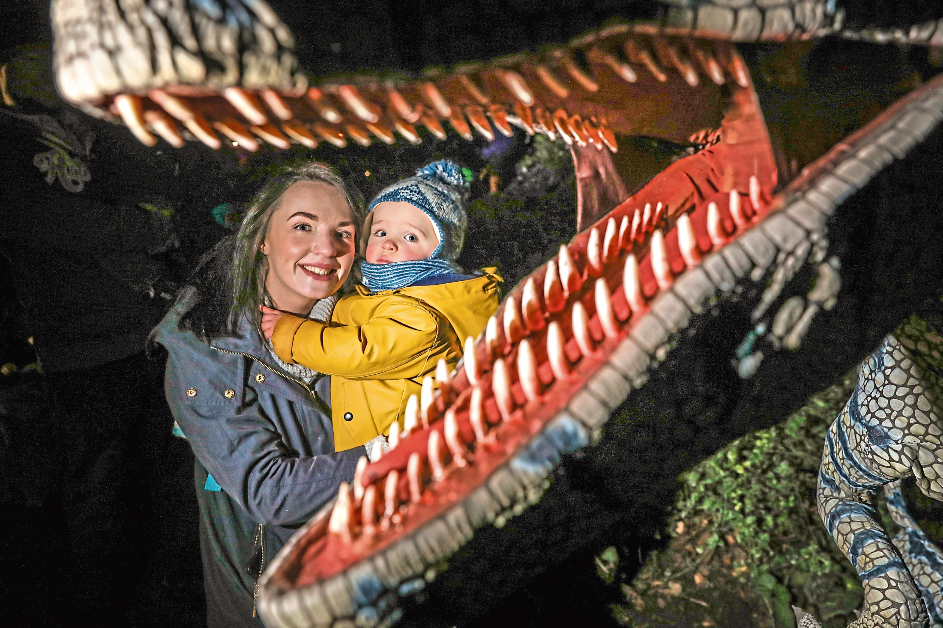 Shannon Huntley and her 18-month-old son Myles McDougall at the dinosaur night