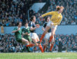 Scotland goalkeeper Alan Rough (right) in action