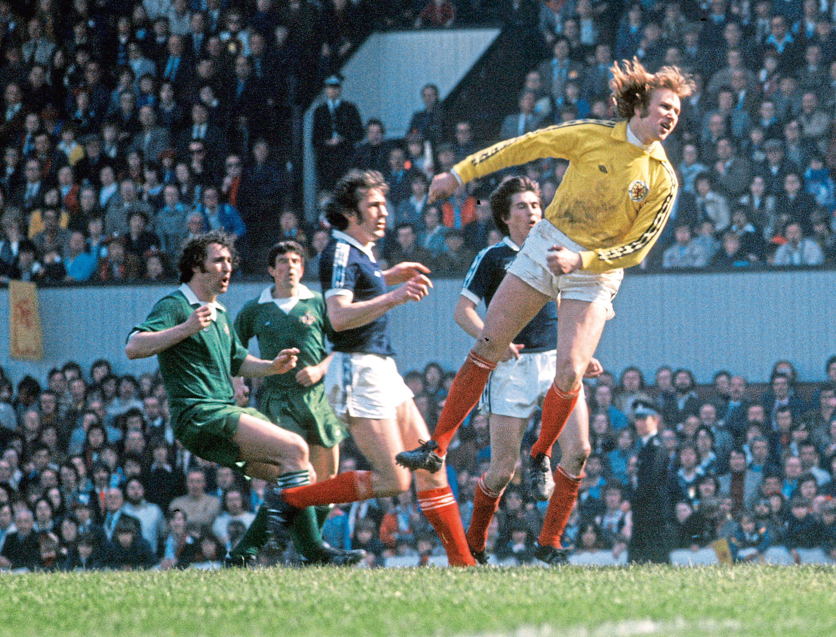 Scotland goalkeeper Alan Rough (right) in action