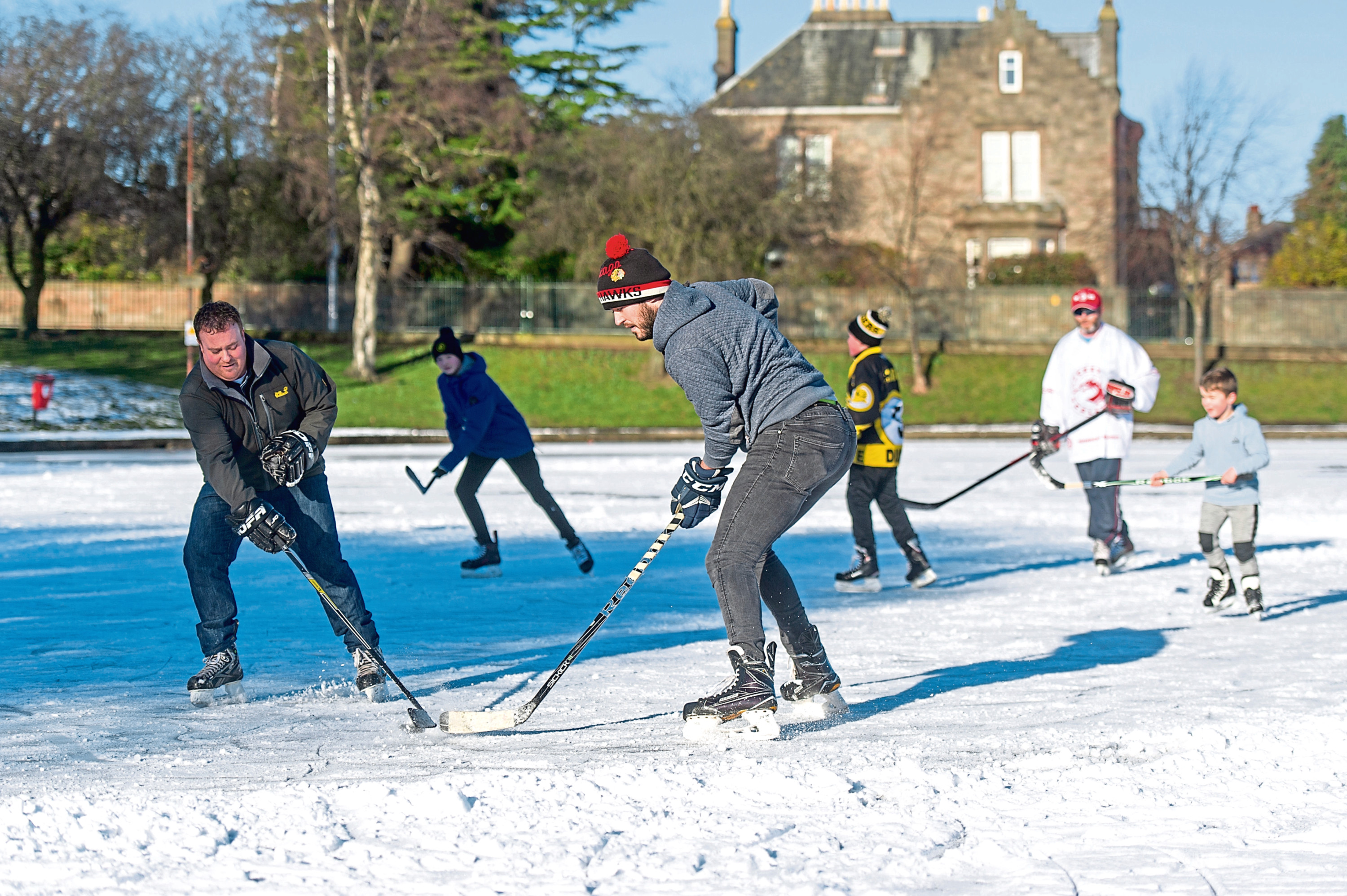 Skaters make the most of the freezing weather at Swannie Ponds