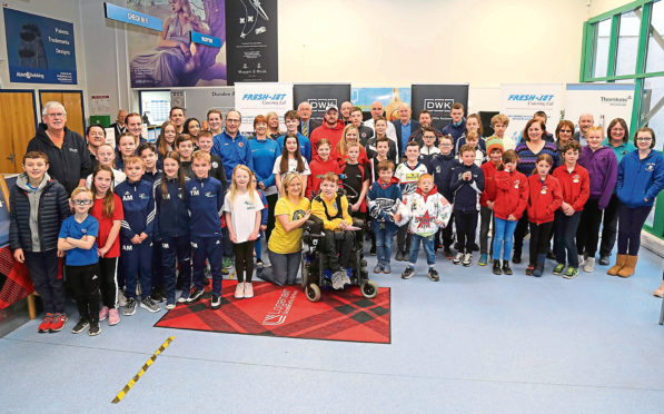 Picture shows sports people at Dundee Airport