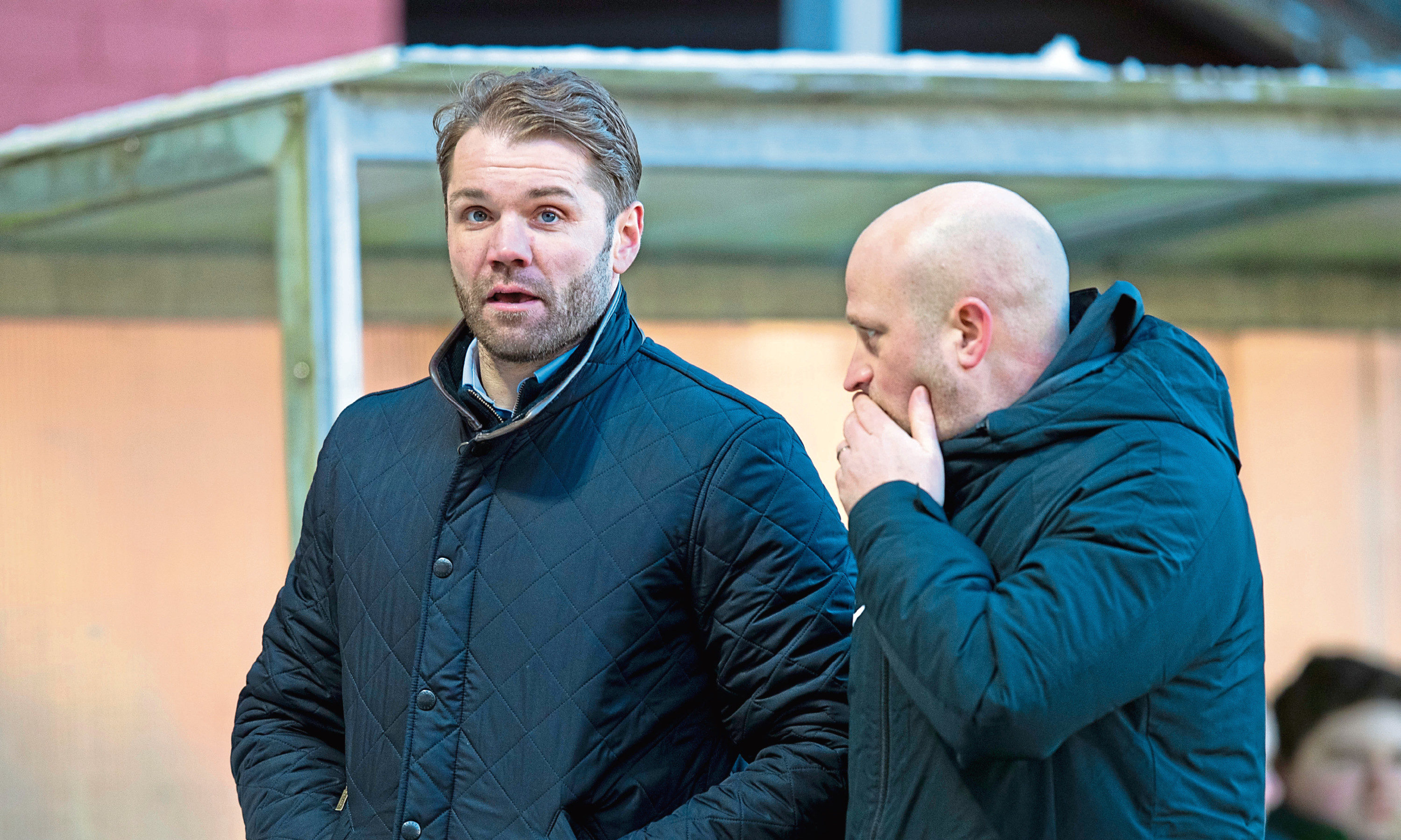 Dundee United assistant head coach Gordon Forrest with boss Robbie Neilson
