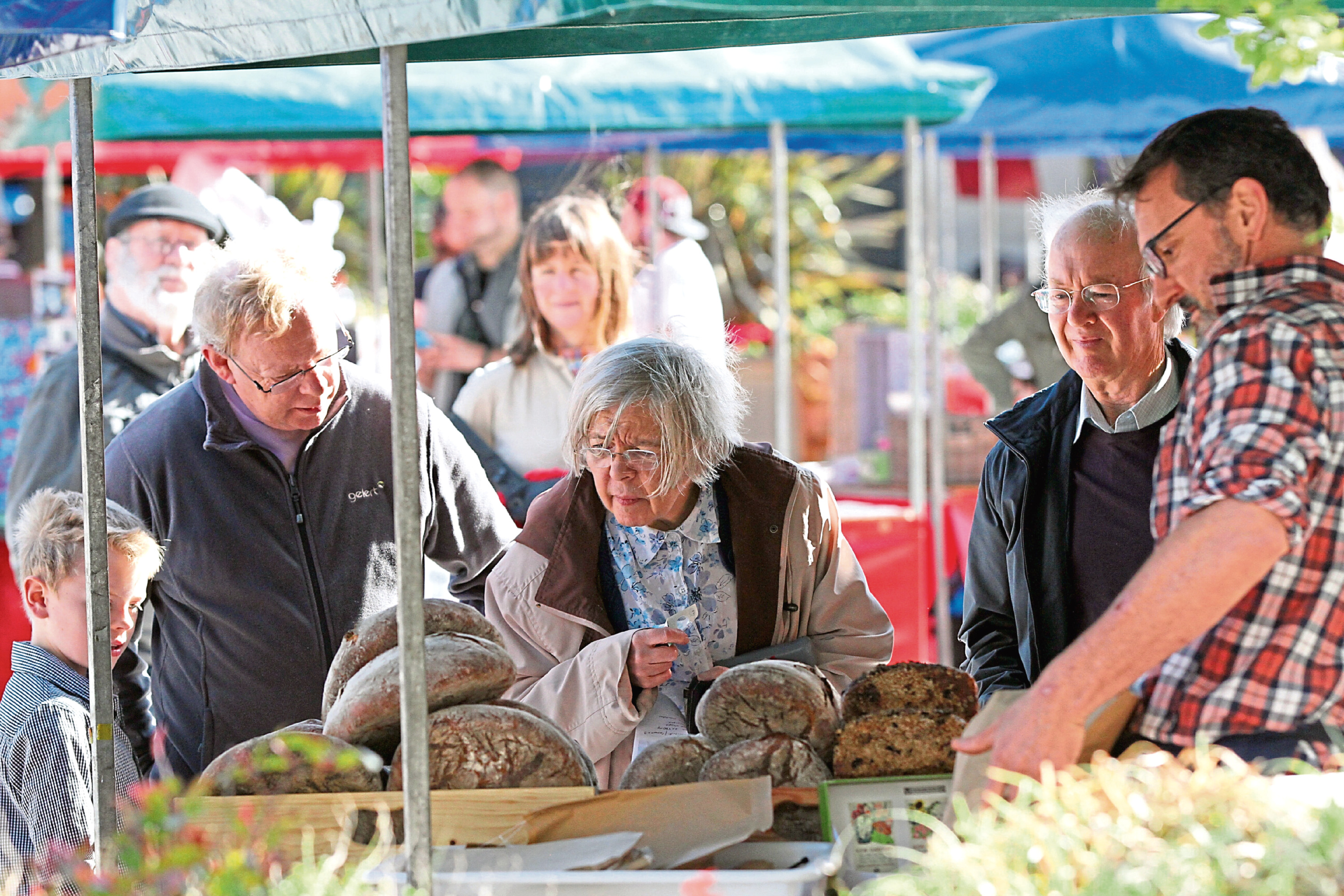 The bread stall attracts customers