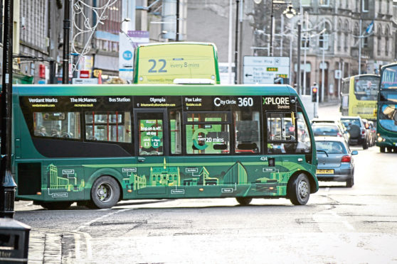 An Xplore bus in Dundee City Centre. (Library image),