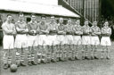 A team photo of Brechin City FC from late March 1956. From left - Nicol, Patterson, Christie, Grant, Aitken, Rennie, Selway, Hodge, Muir, Duncan, Warrender