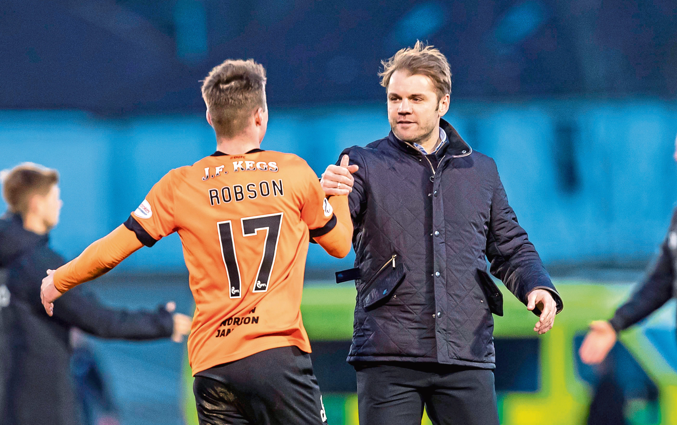 Robbie Neilson and full-back Jamie Robson celebrate the Scottish Cup victory over St Mirren on Saturday