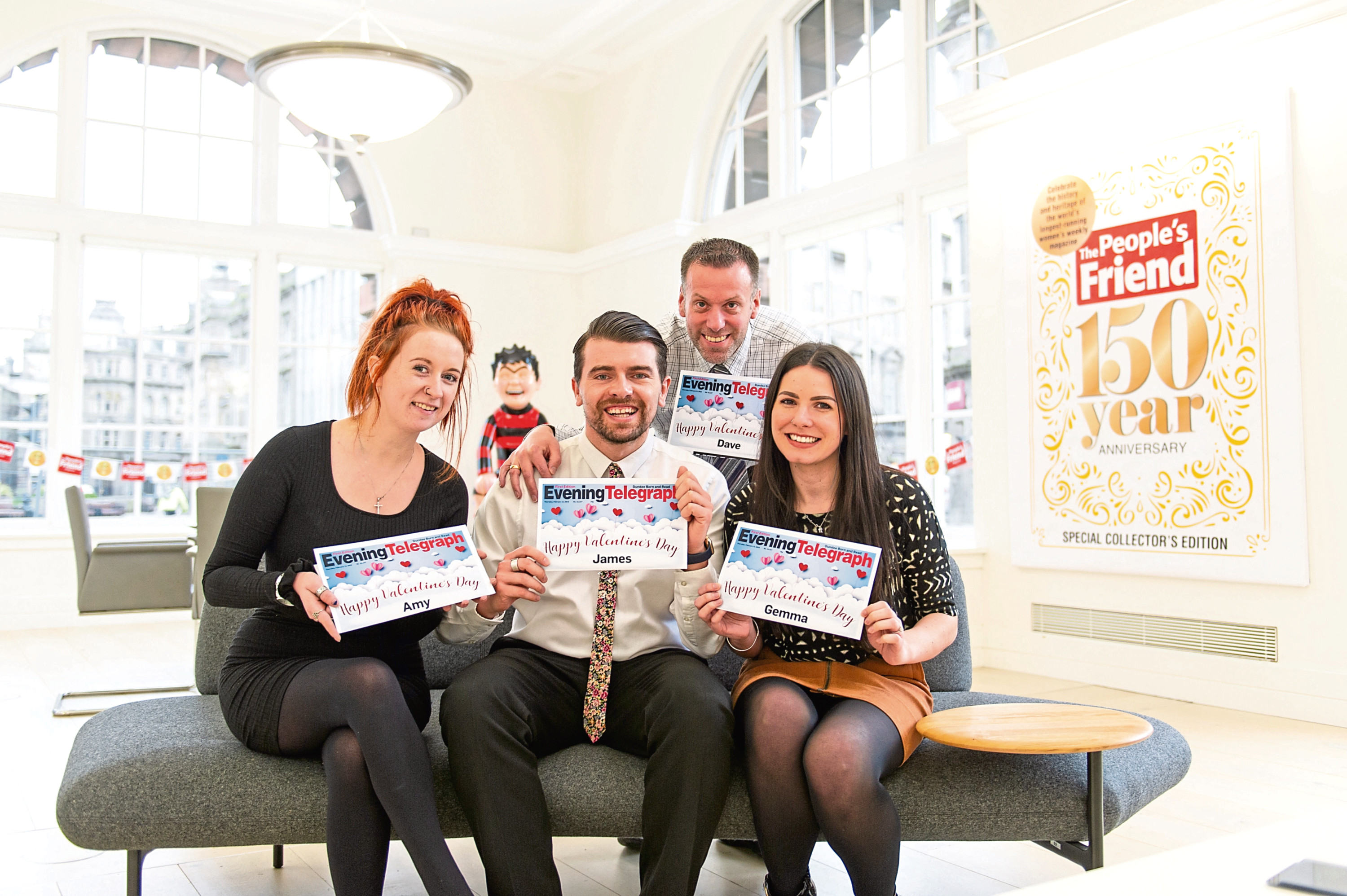 Tele staff have found their own names (from left) features writer Amy Hall, reporter James Simpson, editor Dave Lord and  graphic artist Gemma Day