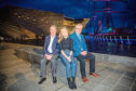 Fiona Phillips with Barry Ferguson, left, director of philanthropy and partnerships at the V&A, and Brian Whittingham, poet and former shipyard worker