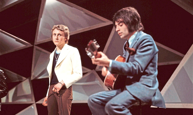 Steve Ellis and Rex Brayley of Love Affair perform on a TV show, London, 1970