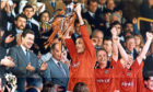Maurice Malpas lifts the Scottish Cup for Dundee United.
