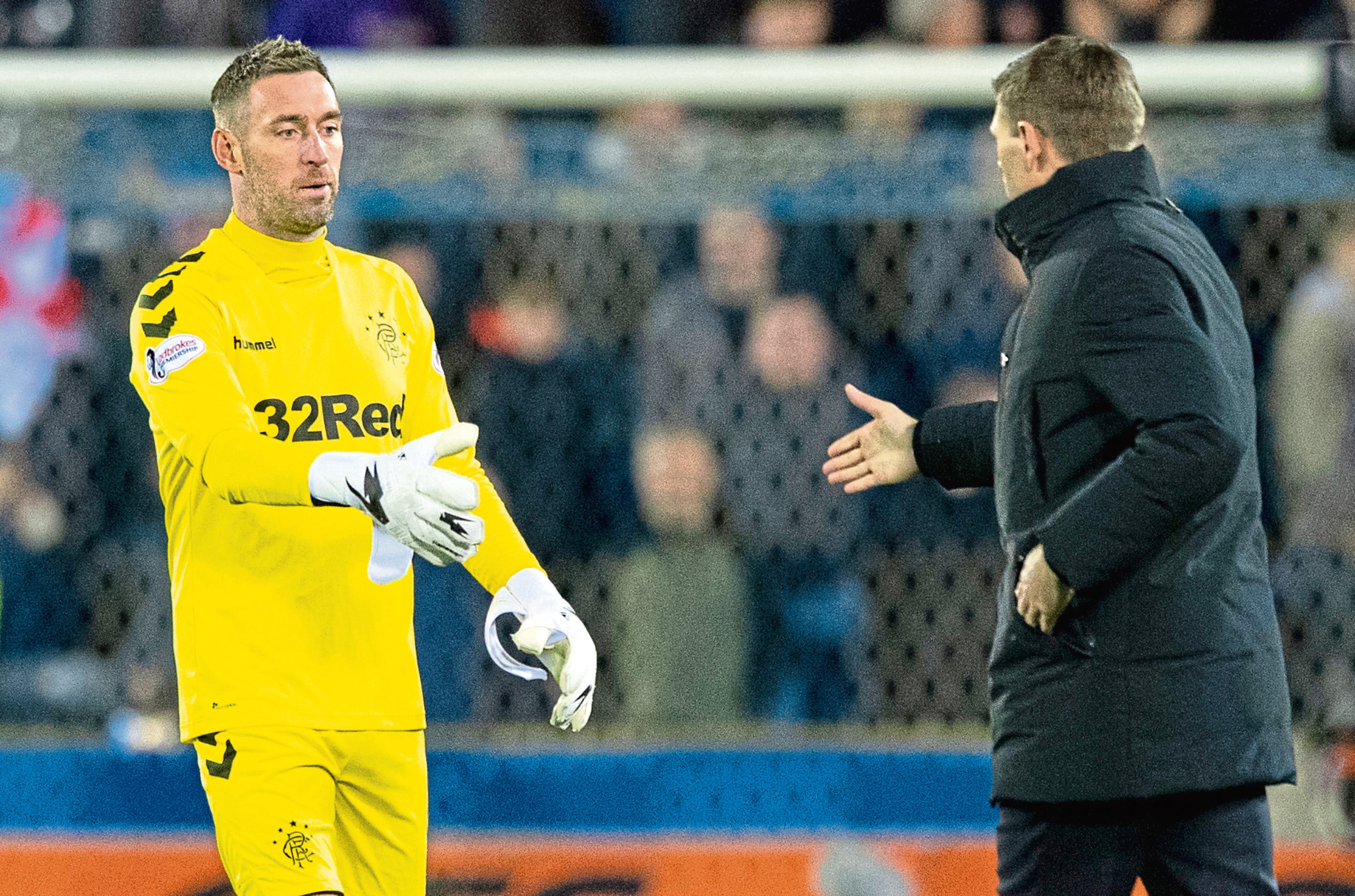 Rangers' Allan McGregor shakes hands with manager Steven Gerrard