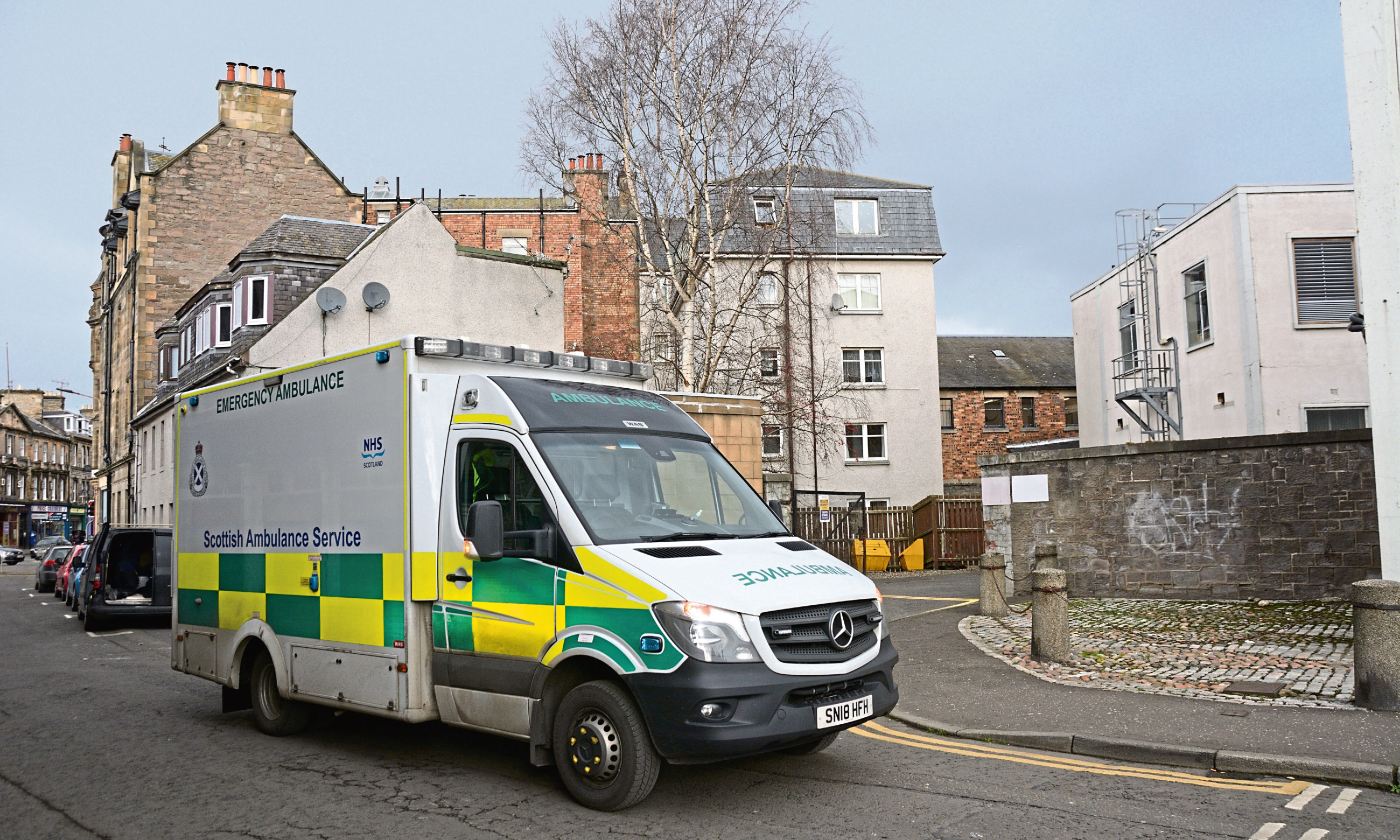 An ambulance in attendance in South Street, Perth