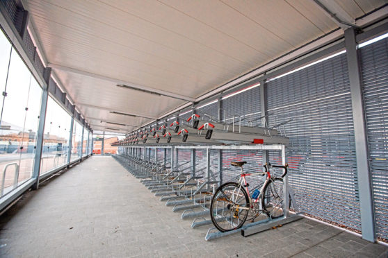 The cycle hangar at Dundee Railway Station