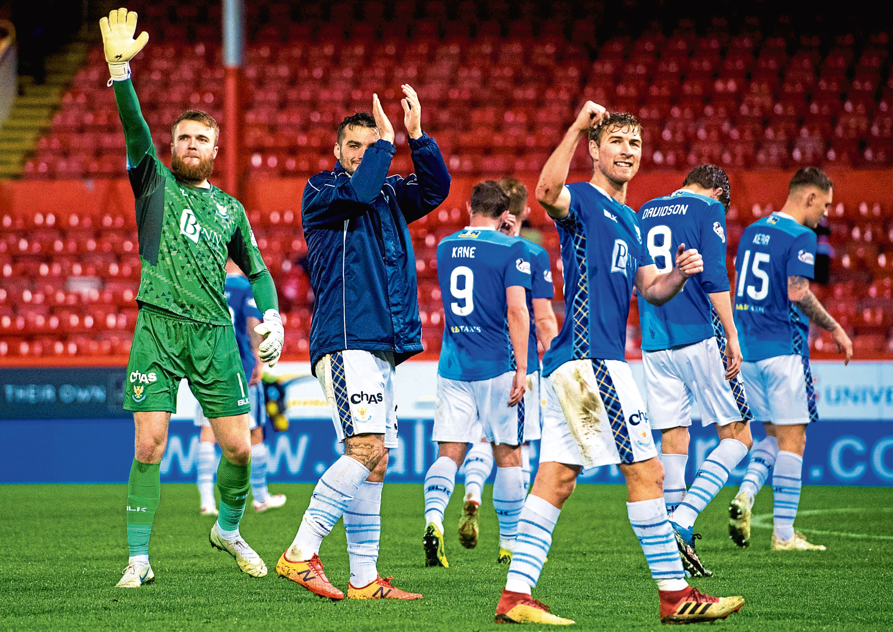 David Wothersponn, right, celebrating with teammates after a win against Aberdeen back in December