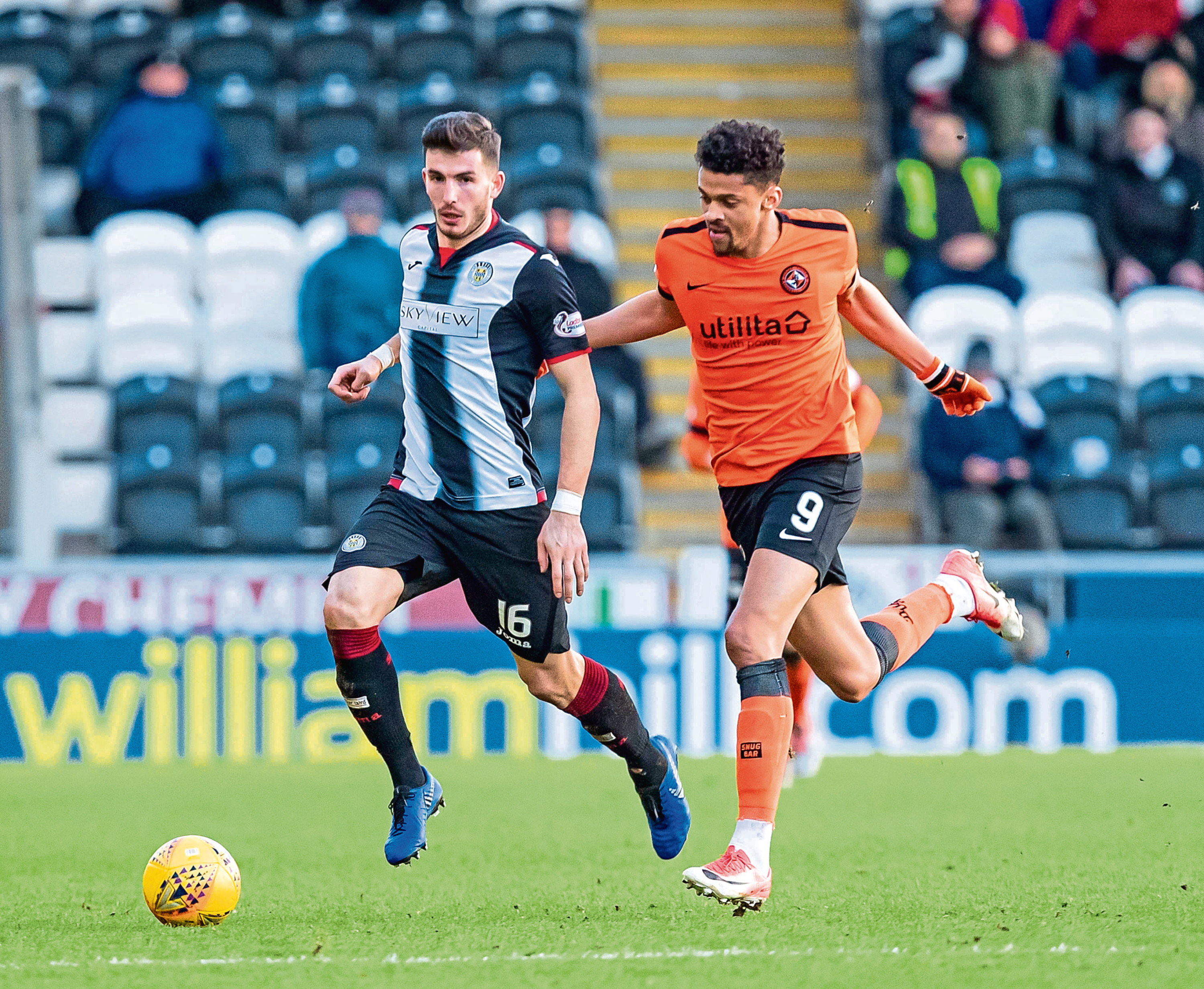 Osman Sow battles for the ball against St Mirren earlier this month