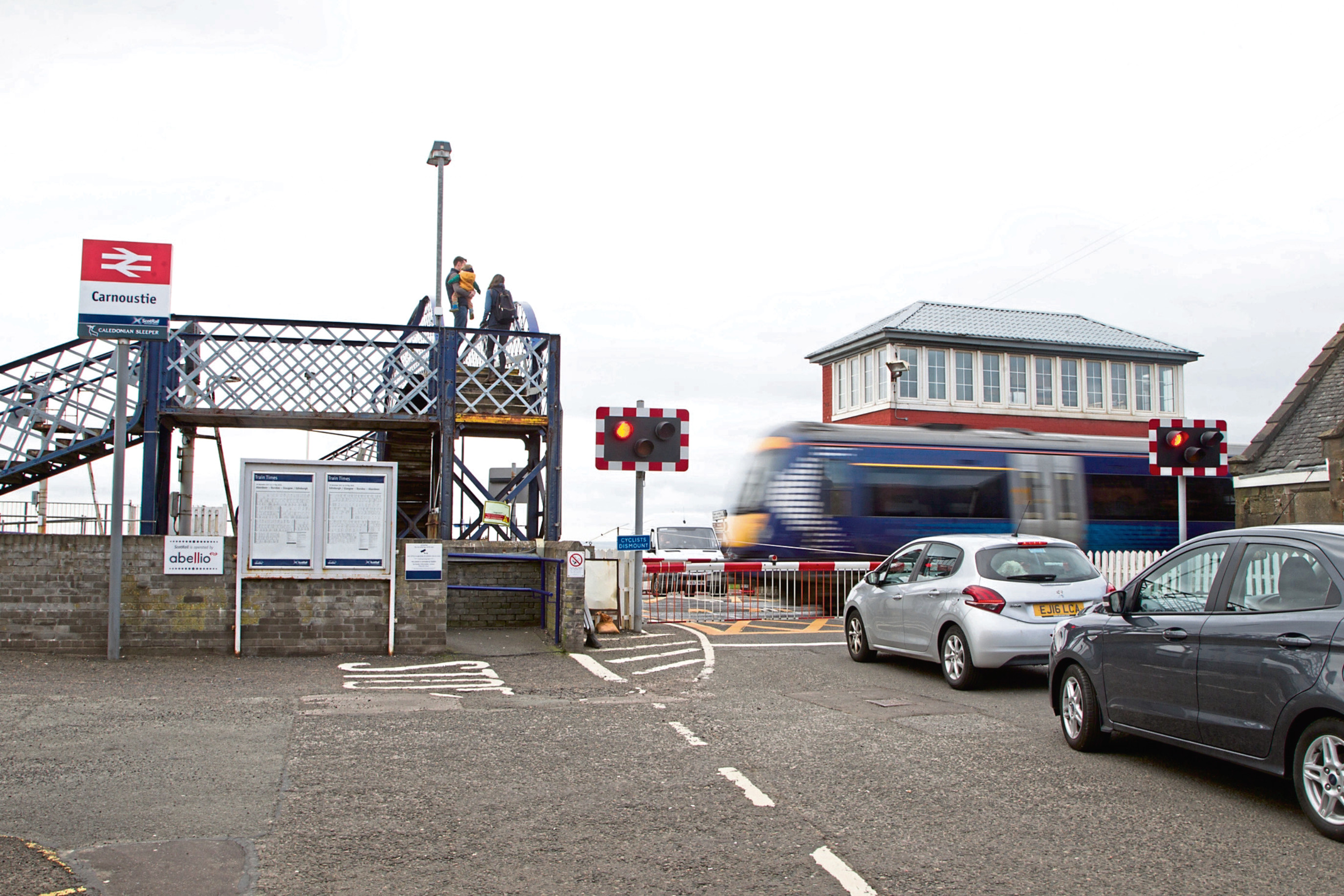 Level-crossing barrier at Carnoustie Railway Station
