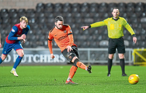 Nicky Clark converts a penalty against Inverness at Tannadice
