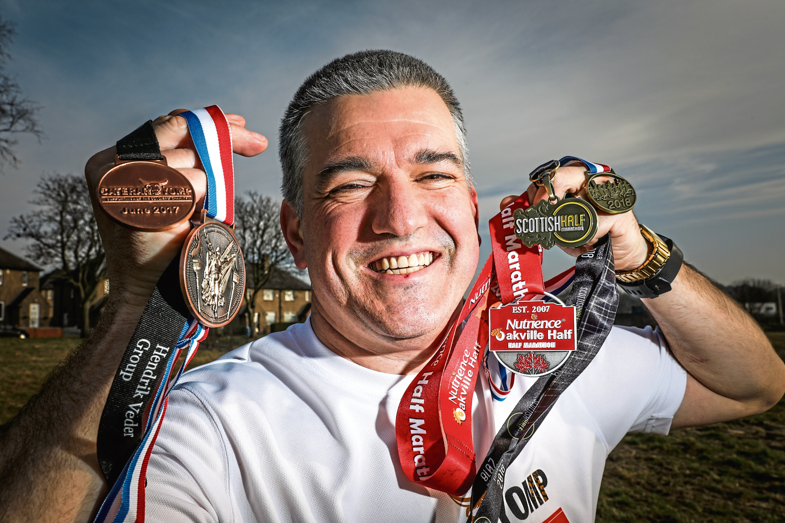 Ian Davidson, 49, has been taking part in running events after losing most of the sight in one eye and vows to continue
