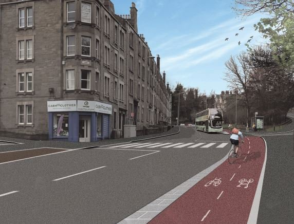Artist's impression of a cycle path on Lochee Road, Dundee