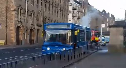 The bus fire on Victoria Road
