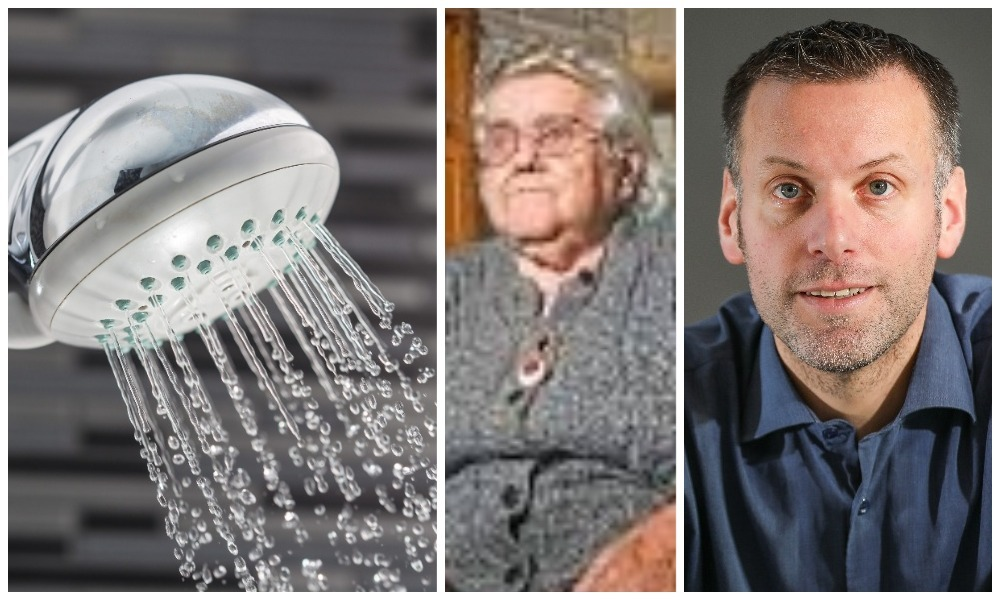 The Tele editor Dave Lord, right, is campaigning to abolish Dundee's shower tax after blind Charlotte Myles, 90, centre, paid an estimated £4,000 to use her own shower