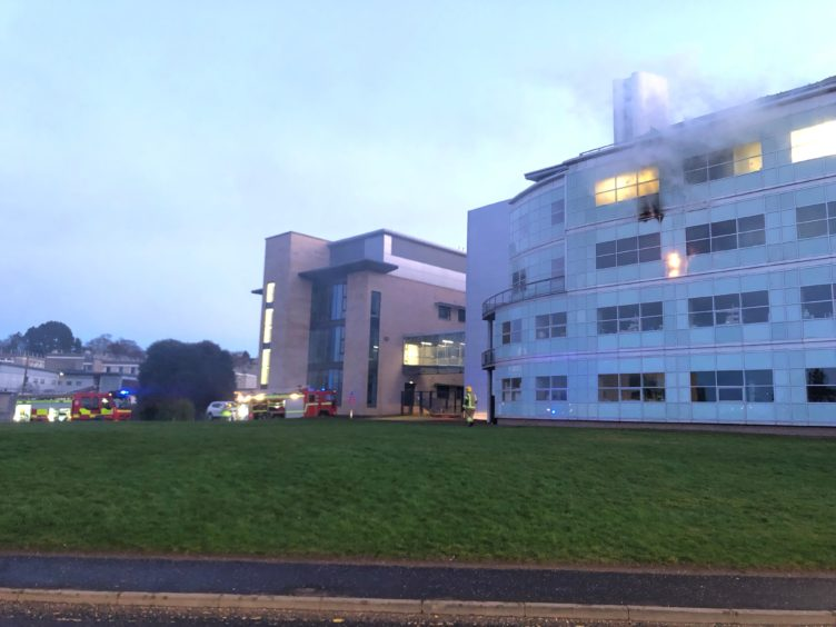 The fire broke out on the third floor of a building at St Andrews University