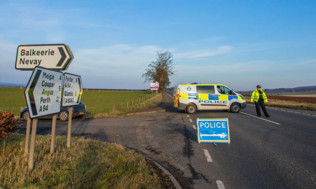 The scene of the crash on the A94