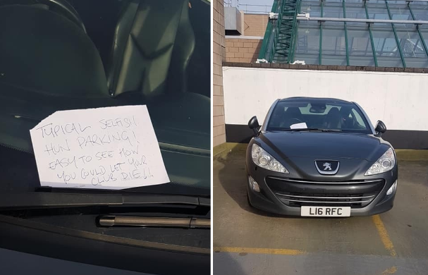 The note was apparently written in reference to the 'RFC' numberplate, which may stand for 'Rangers Football Club'