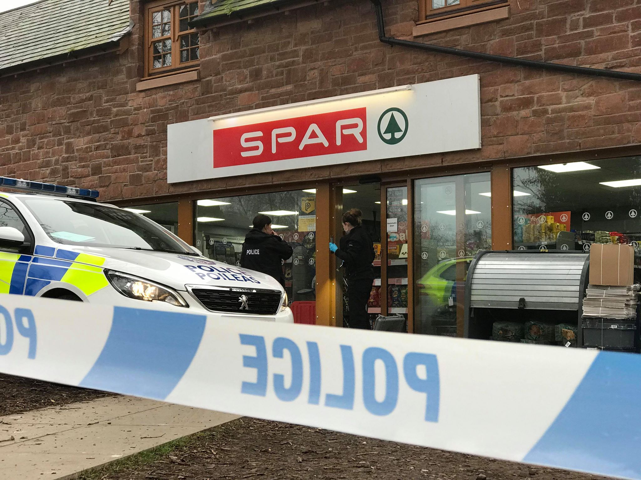 Police at the Spar store in Inchture