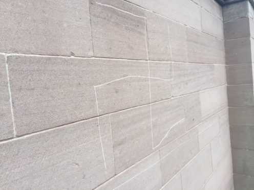 Part of the vandalism to the cathedral