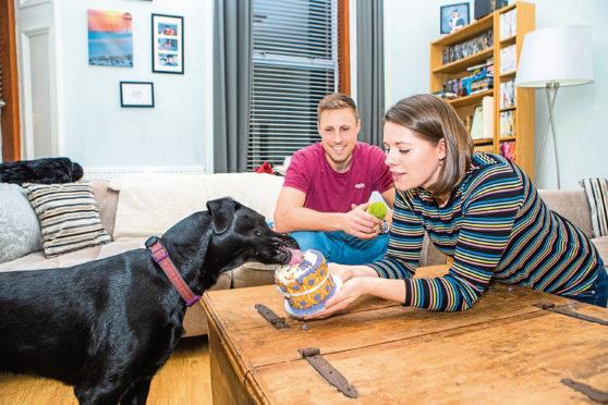 Imogen Hynd and husband Cameron with dog Skye