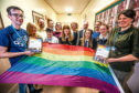 Picture shows; staff, pupils, councillors and Barry Jordan (far left) and Vicky Walker (far right) from LBGT Dundee.