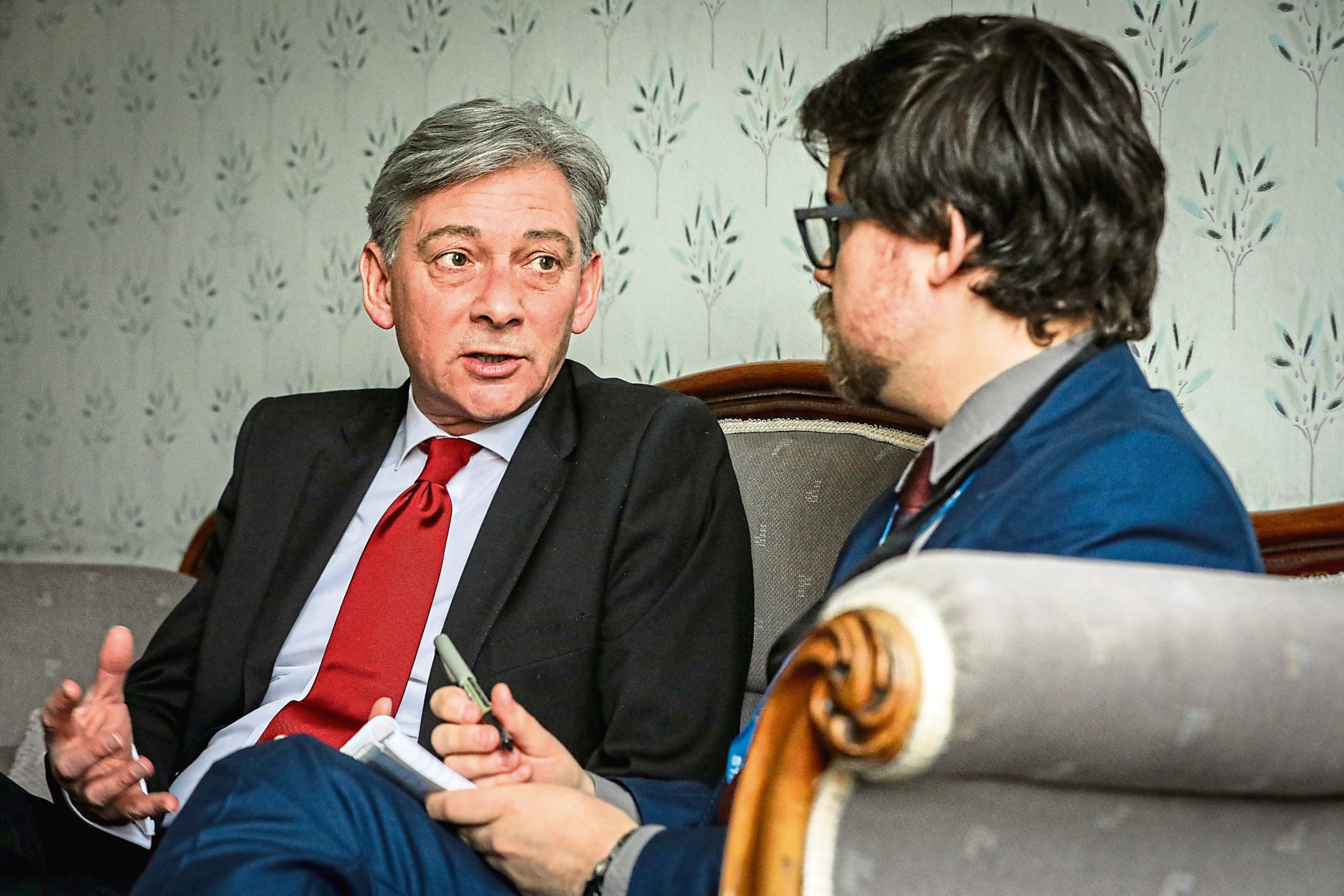 Tele News, Jon Brady story, CR0006899 . Tele interview with Richard Leonard, Scottish Labour leader, to speak about the latest jobs issues in Dundee (Michelin, McGill) and his personal intervention in the cases of families of Carseview suicide victims such as Dale Thomson and David Ramsay. Pic shows; Jon Brady interviewing Richard Leonard, Scottish Labour Leader at Caird Hall, DUndee. Sunday, 10th March, 2019. Kris Miller/DCT Media