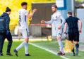 Osman Sow exits for Pavol Safranko at Firhill last Saturday.