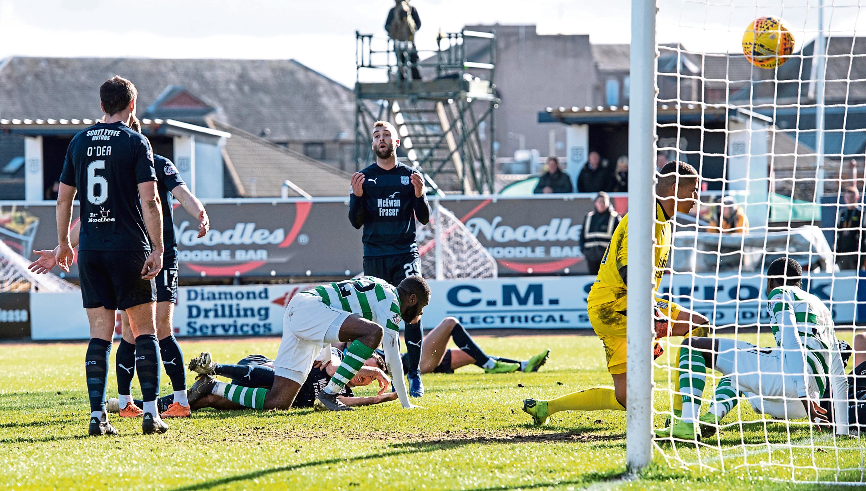 Celtic's Odsonne Edouard nets the Hoops' late winner at Dens.