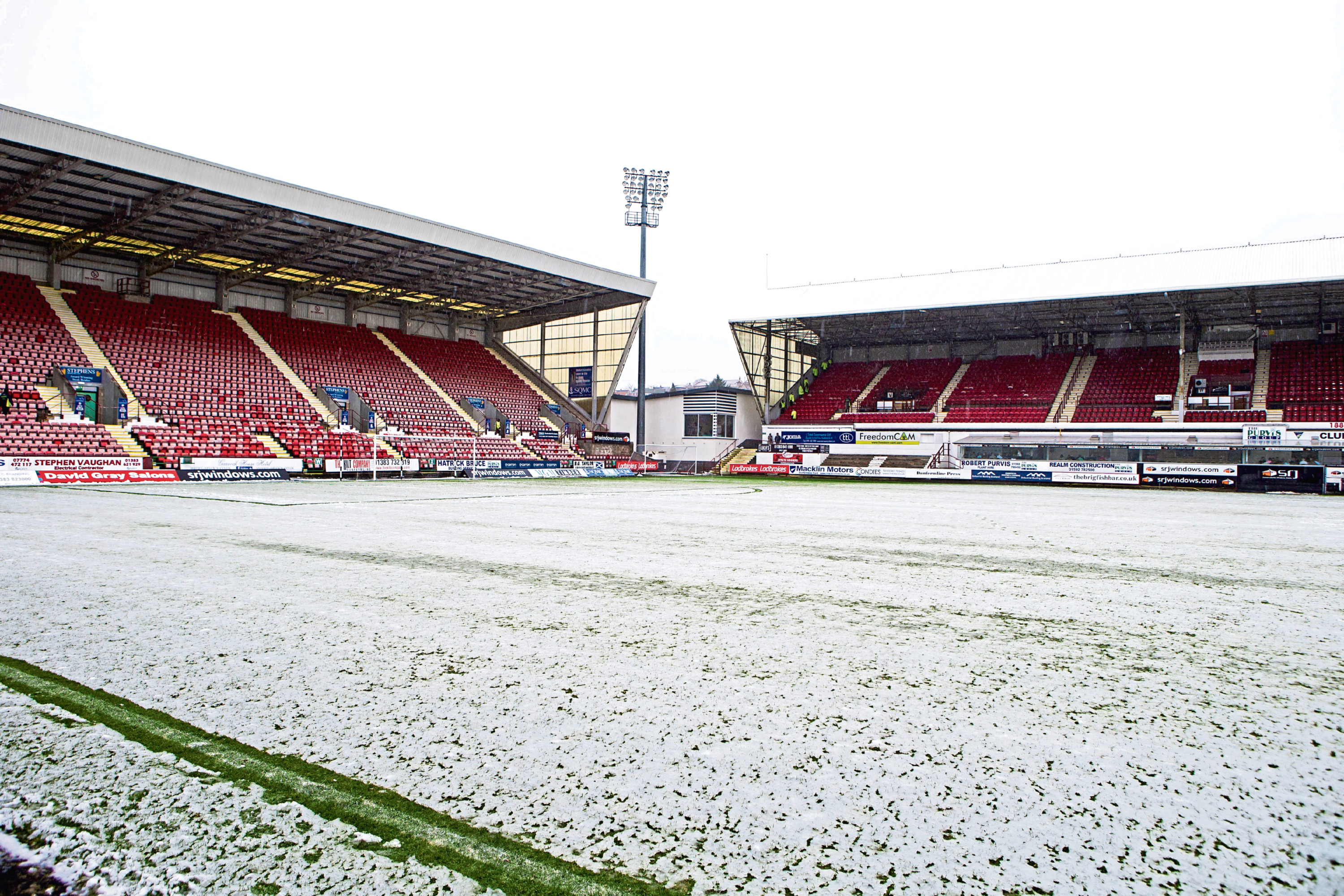 The East End Park pitch after the game was cancelled due to adverse weather.