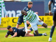 Celtic's Odsonne Edouard is challenged by Dundee's Darren O'Dea.